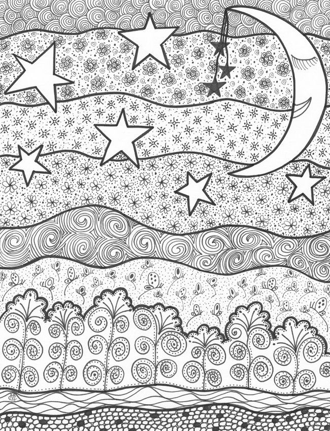 Adult coloring pages of the sun coloring home for Moon and stars coloring pages