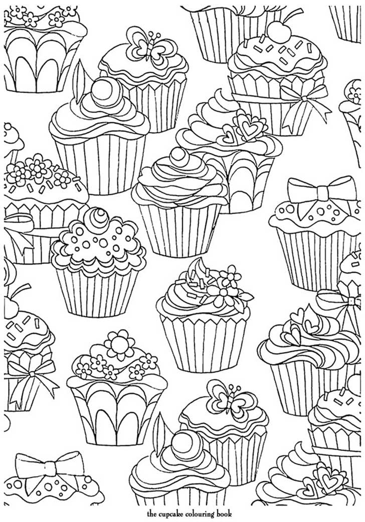 Free coloring pages of cute cupcakes