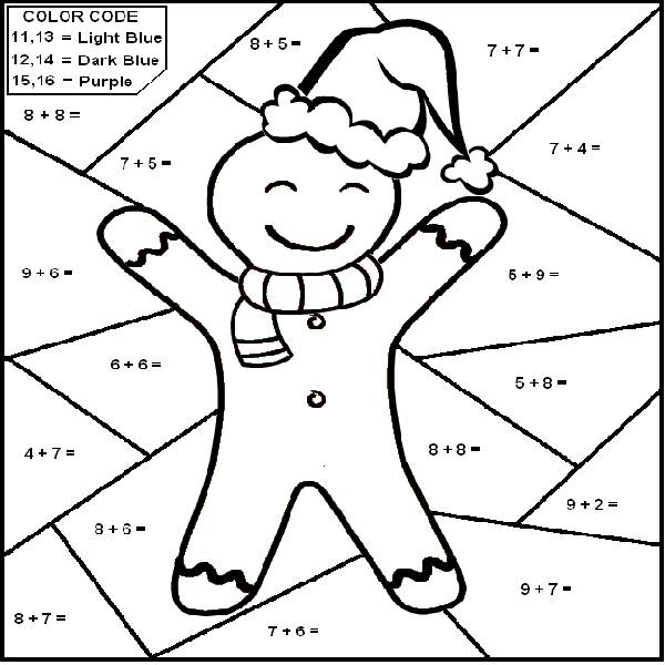 Christmas Math Coloring Page Home Sheets 3rd Grade Pages