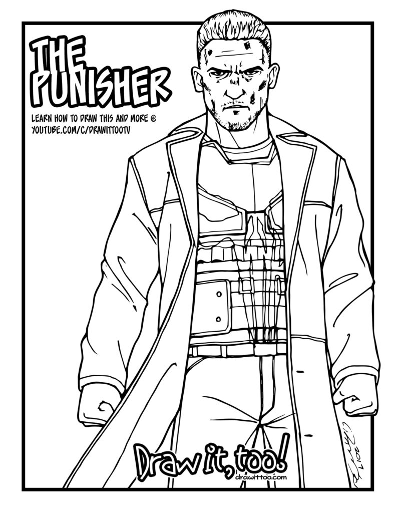 The Punisher Netflix Daredevil Season 2 Tutorial Draw It Too Coloring Home
