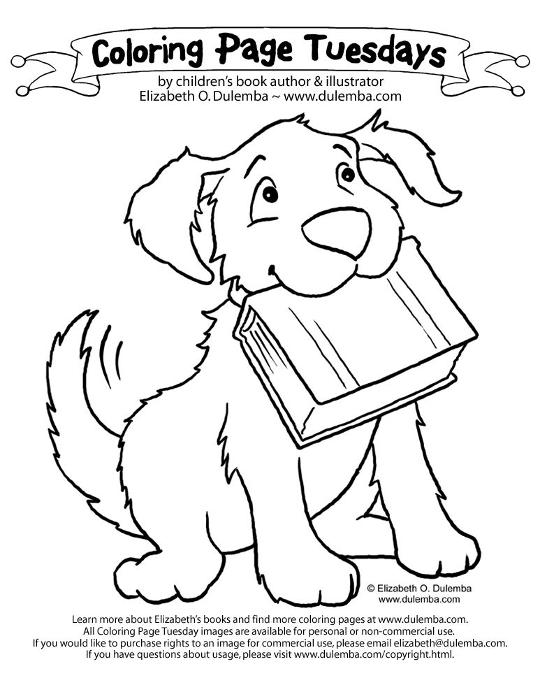 dulemba: Coloring Page Tuesday - Dog with Book