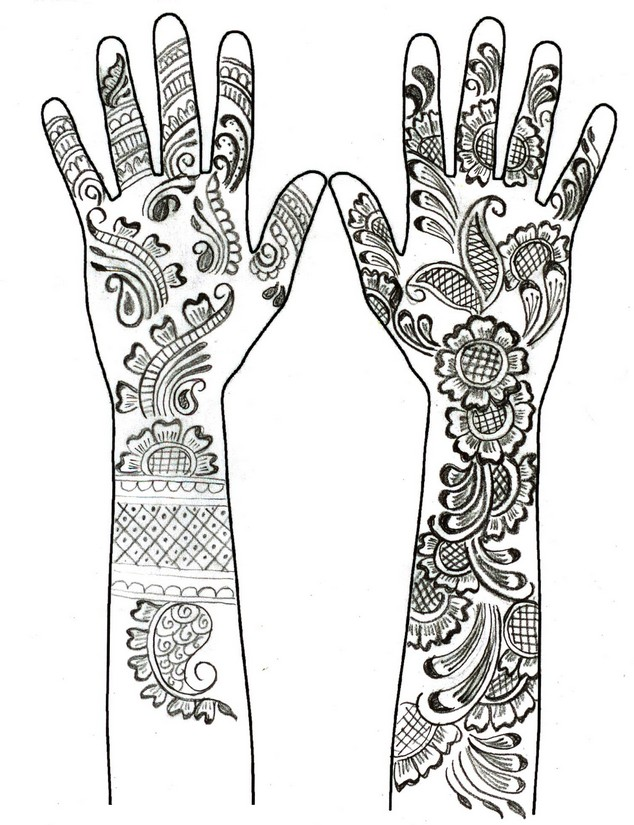 henna hand coloring page - Henna Coloring Pages
