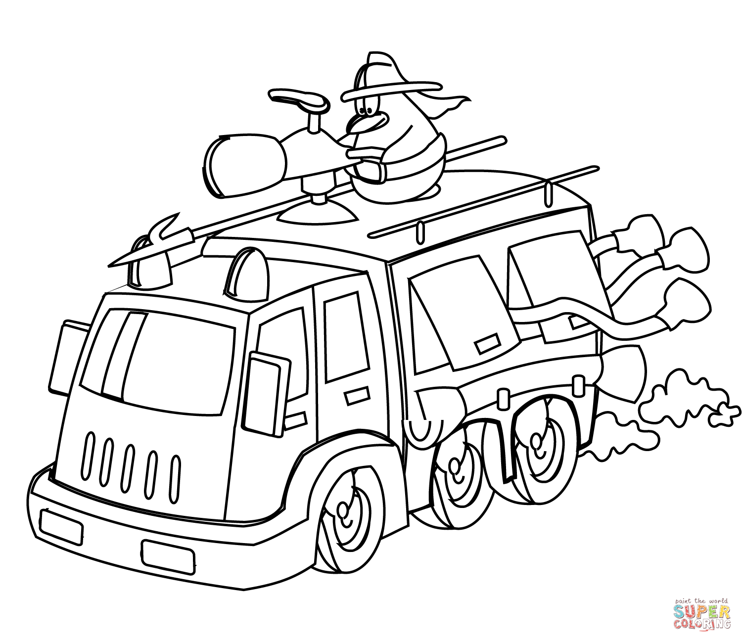 free firetruck coloring pages - photo#10