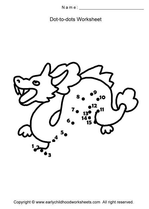 Dragon Dot To Dot on Worksheets About Pets