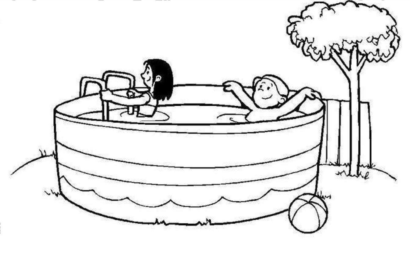 coloring pages swimming pool - photo#4