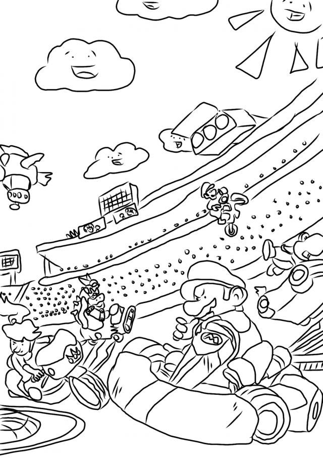 10 Pics Of Mario Kart Coloring Pages To Print Super Mario