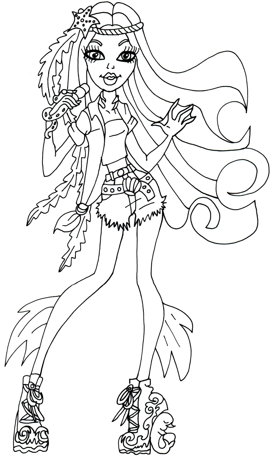 This is a graphic of Shocking Monster High Coloring Page