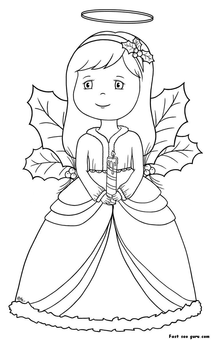 Angel Coloring Page Christmas Simple - Coloring Home