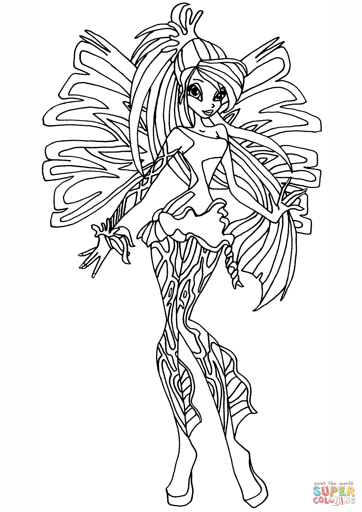 winx club sirenix bloom coloring page free printable coloring pages