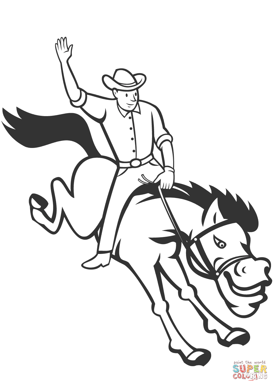 Rodeo Cowboy Riding Bucking Bronco coloring page | Free Printable ...