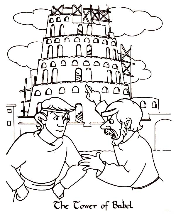 Two Man Argue in Front of Tower of Babel Coloring Page | Kids Play ...