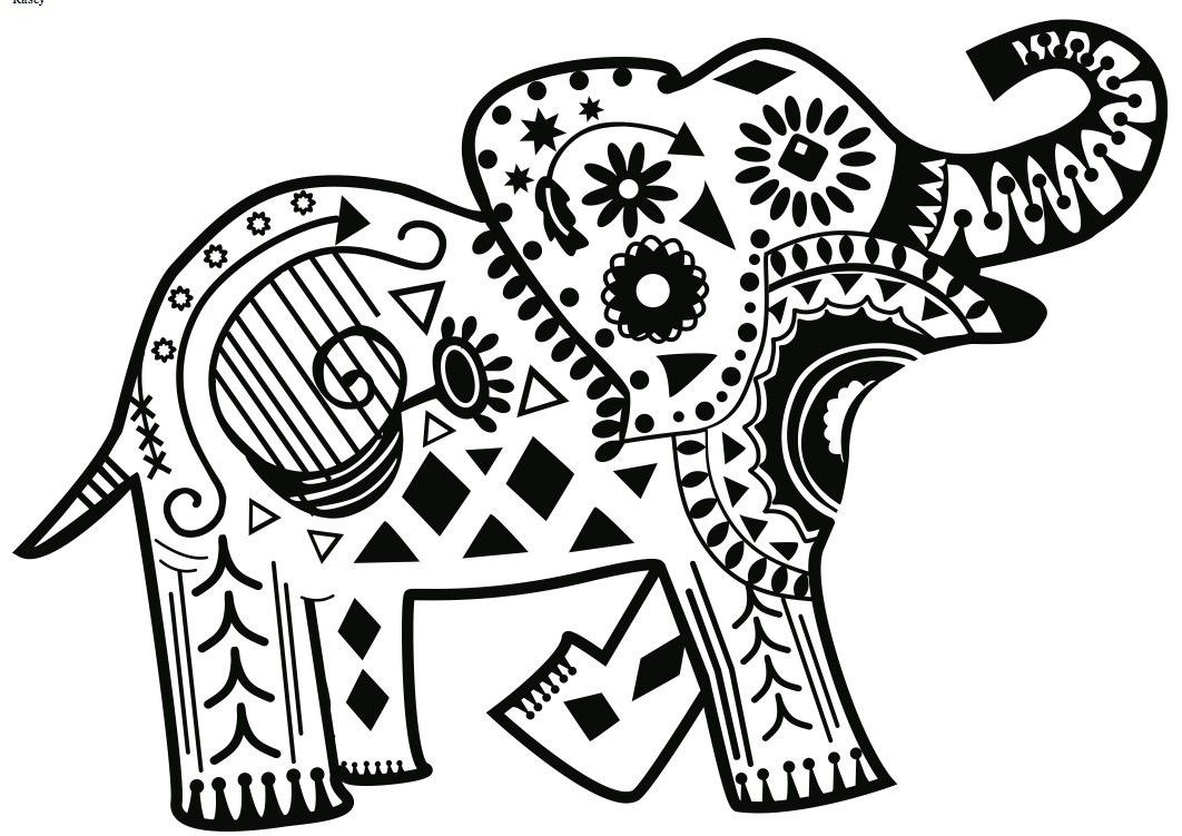 Tribal Elephant Coloring Pages For Adults 2