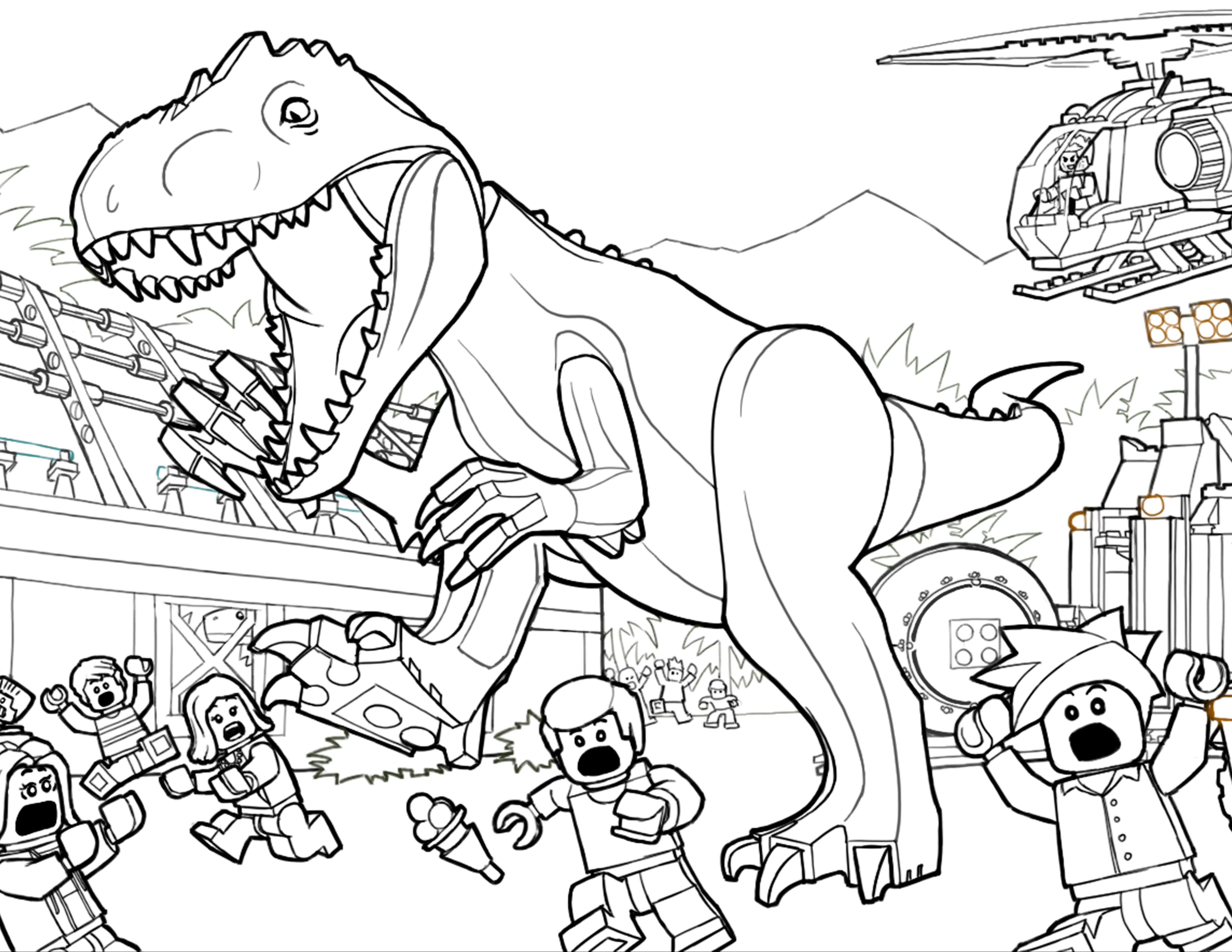 Nice Jurassic Park T Rex Coloring Pages 7001