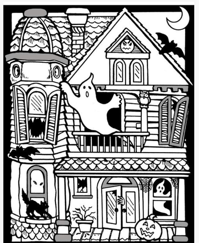 Scary Haunted House Coloring Pages Download And Print For Free Coloring Home