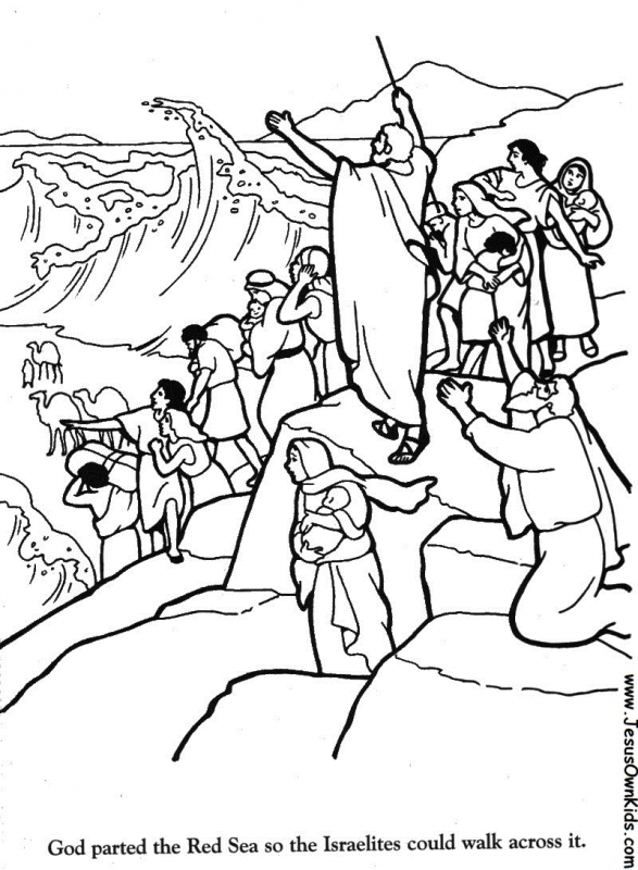 israel crossing the red sea coloring page - Clip Art Library