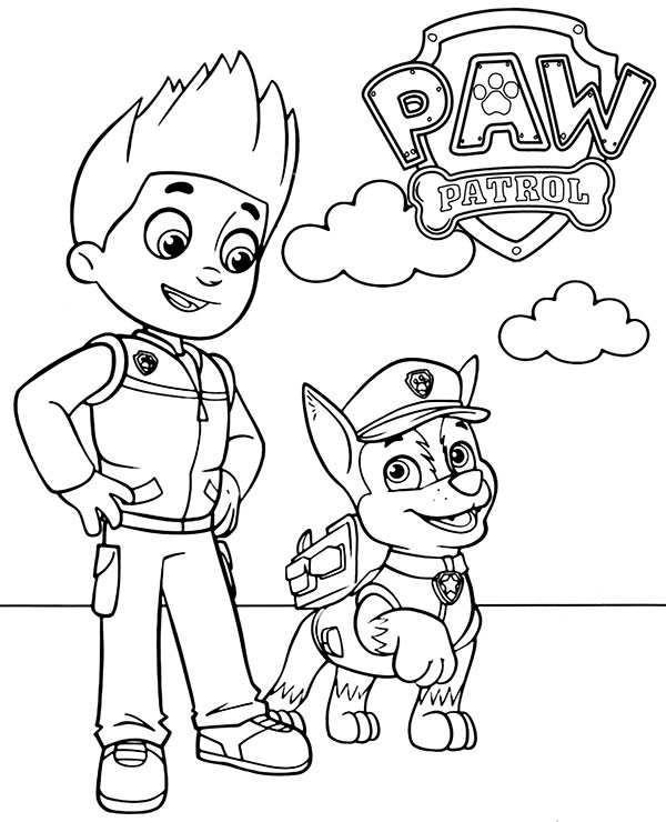 Ryder and Chase to color Paw Patrol new coloring page