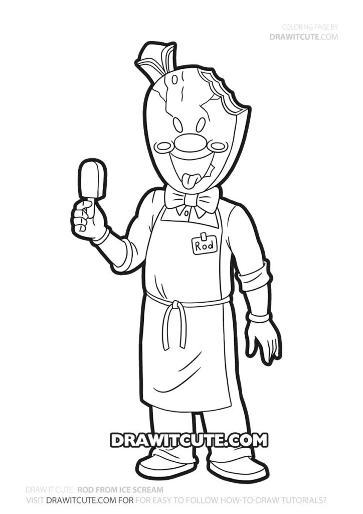 Rod | Ice Scream coloring page- Draw it cute in 2020 | Ice scream, Screaming  drawing, Fnaf coloring pages