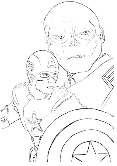 Updated Captain Coloring Pages Red Skull - behindthegown.com