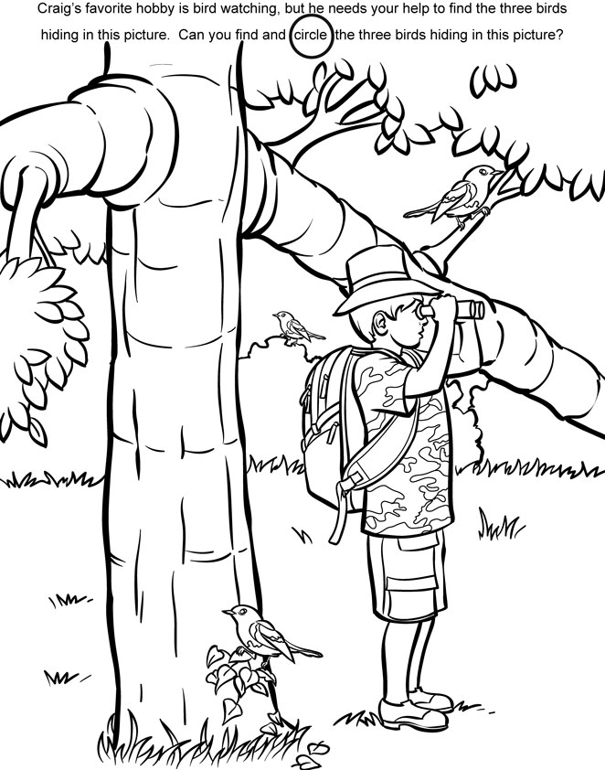 bird watching coloring pages - photo#12