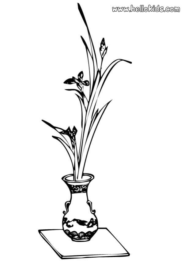 FLOWER coloring pages - Vase with flowers