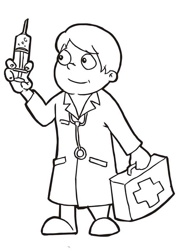 A Doctor Coloring Page - Coloring Home (600 x 848 Pixel)
