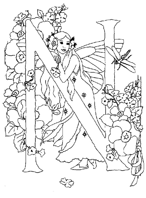 Letter N Alphabet Fairy and a Dragonfly Coloring Pages | Batch ...