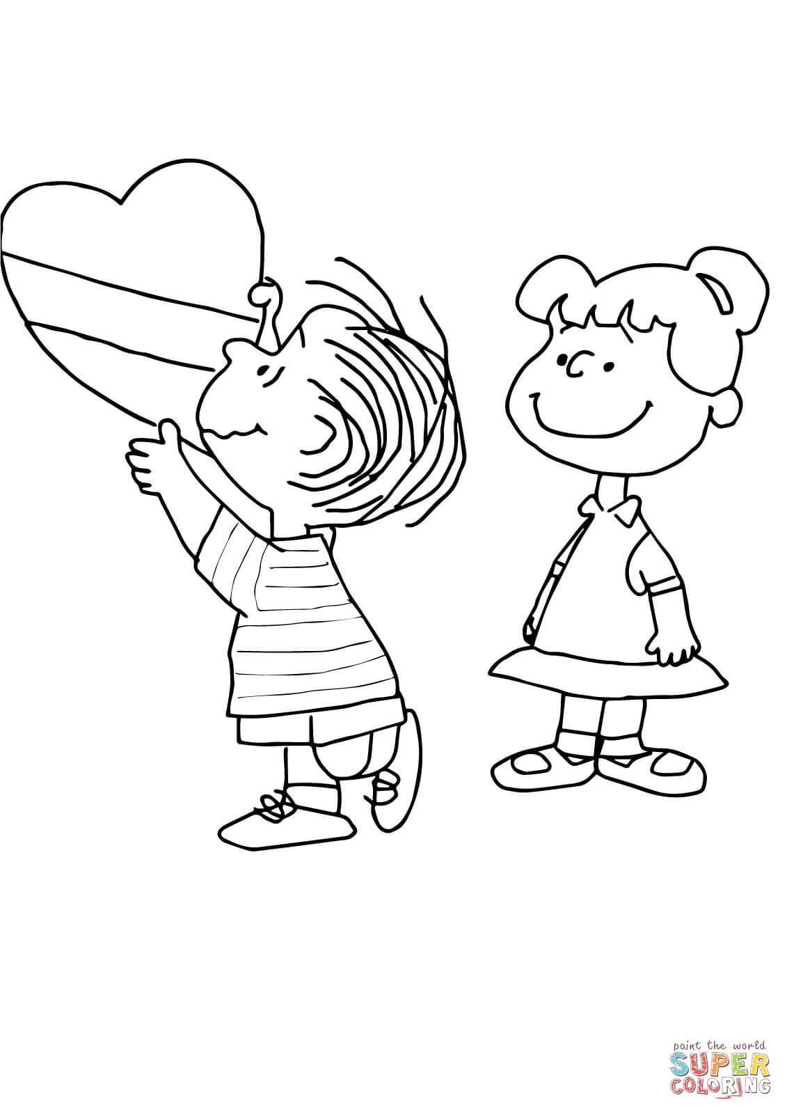 Charlie Brown Valentine coloring page | Free Printable Coloring Pages