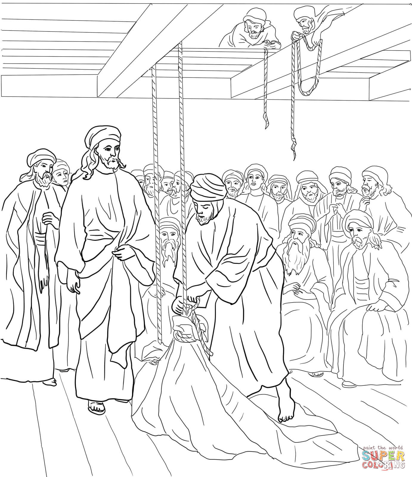 Jesus heals a man by the pool coloring page coloring home for Jesus heals paralyzed man coloring page