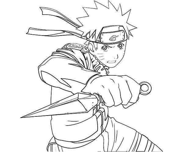 Uzumaki Naruto with Kunai Knife Coloring Page | Fox coloring page, Anime  drawing books, Cartoon coloring pages