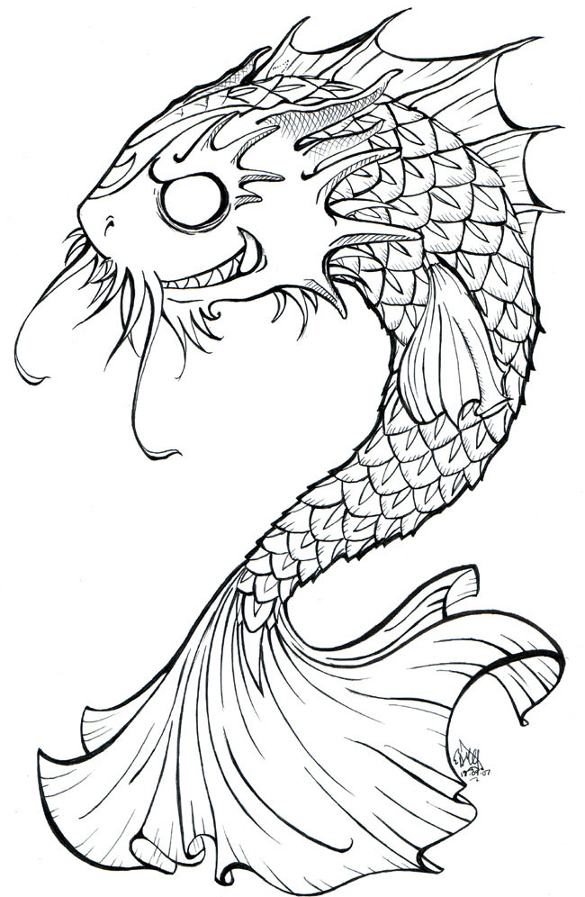 And White Koi Fish Drawings Line Of Az Coloring Pages
