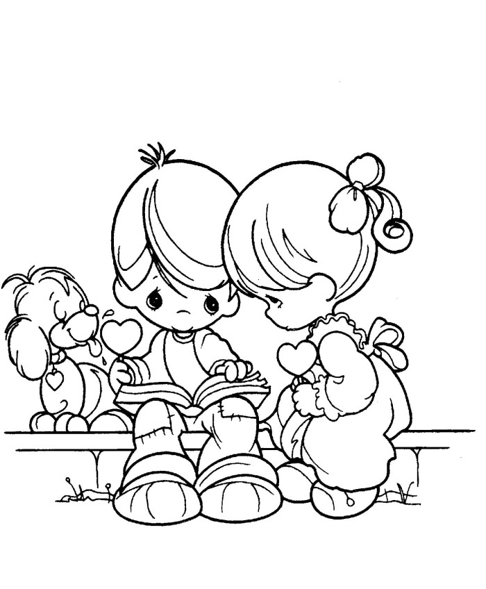 Boy and girl reads book precious moments coloring pages for Coloring pages girl and boy