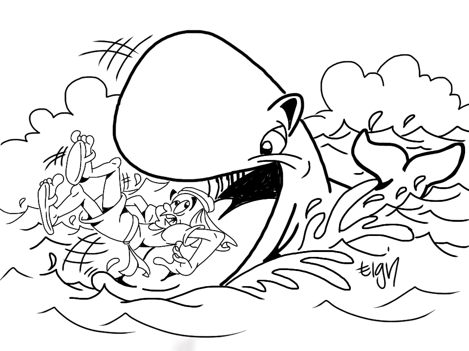 jonah and fish coloring pages - photo#8