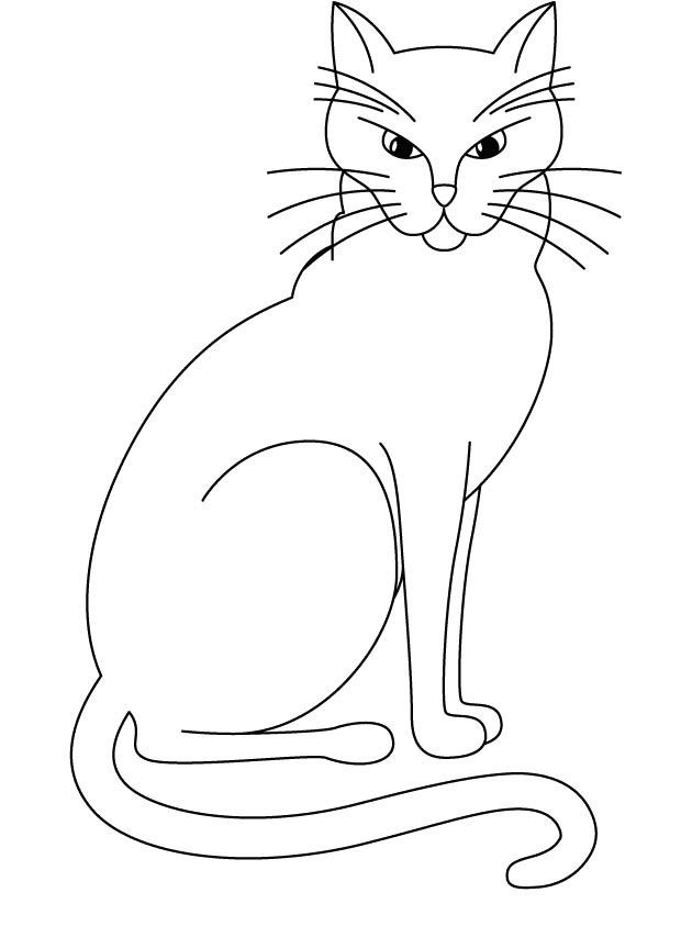 Big Cat Who Is Angry Coloring Page | Cat and Dog drawings