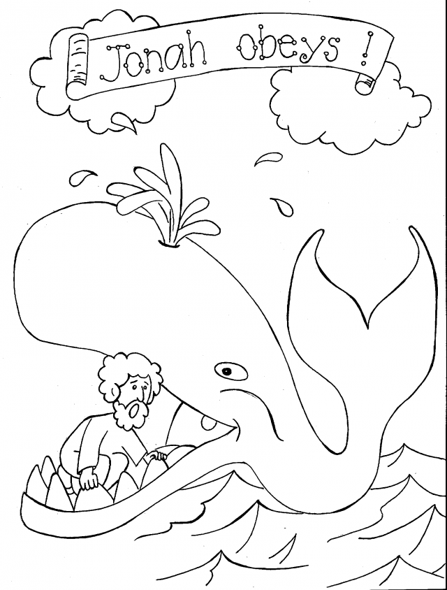 Whale Coloring Pages Pdf : Jonah and the whale coloring page childrens church