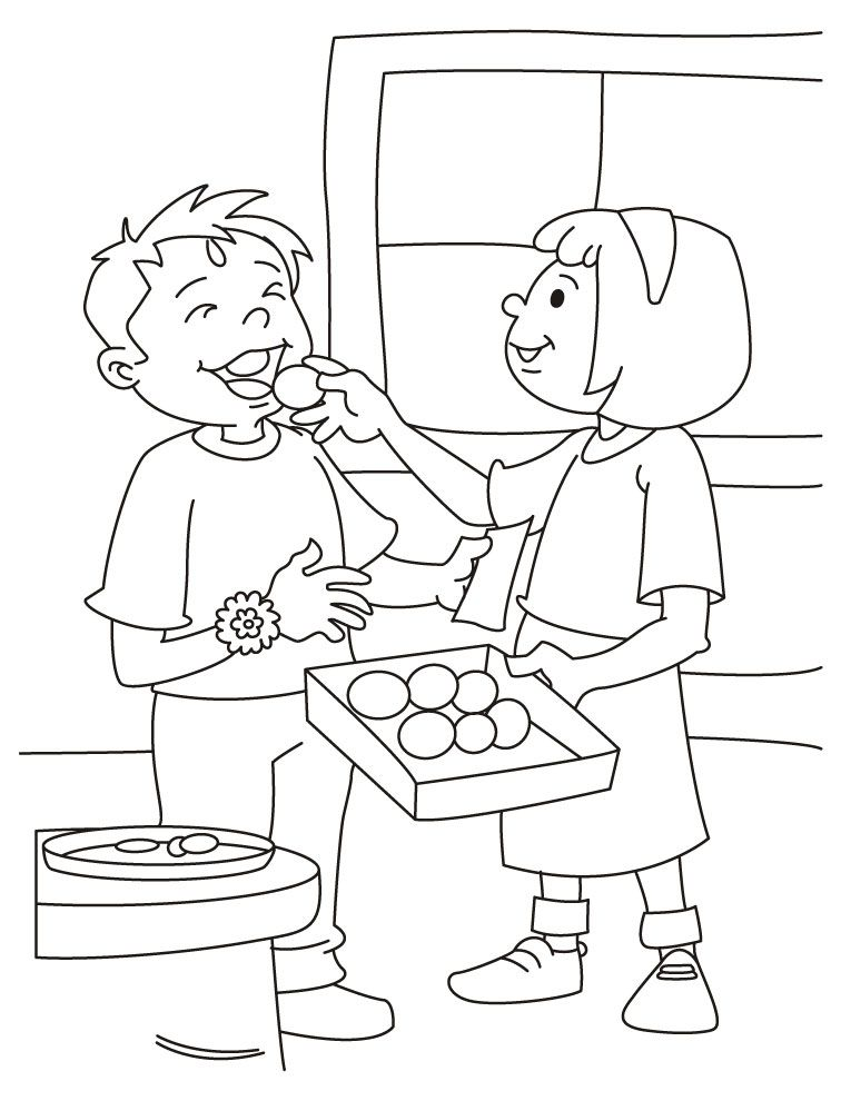 Printable brother and sister coloring pages of raksha for Sister coloring pages