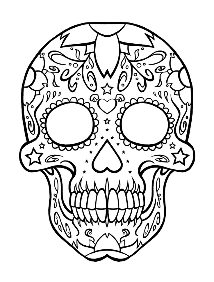 Back gt Gallery For Dia De Los Muertos Skull Coloring Pages Black And