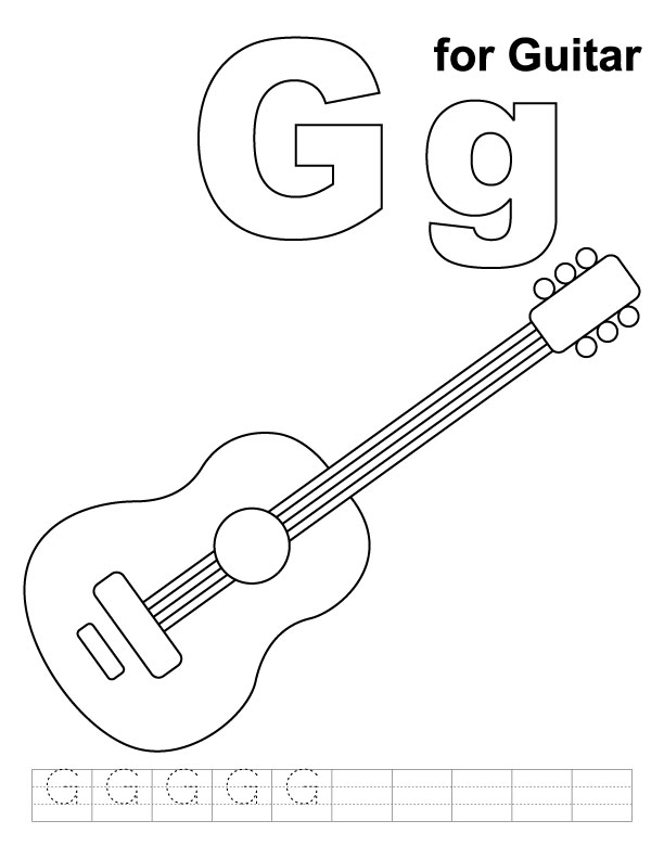 for guitar coloring page with handwriting practice | Download