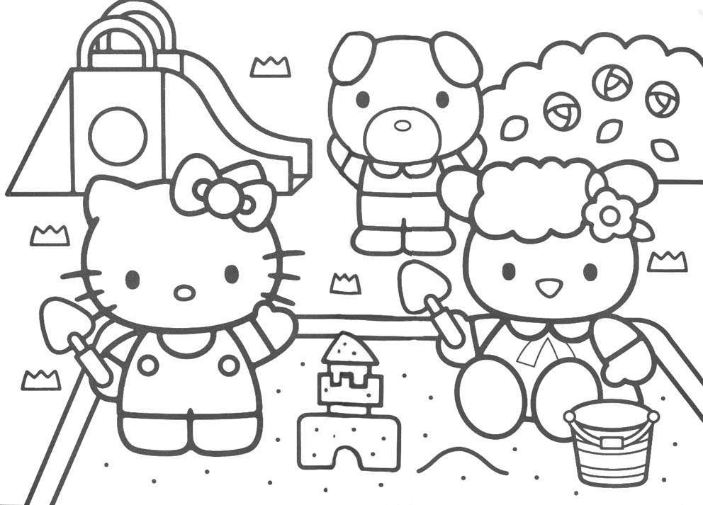 hello kitty colouring pages printables