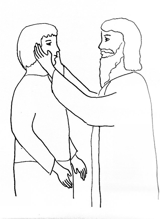 Bible Story Coloring Page for Jesus Heals a Deaf Man | Free Bible