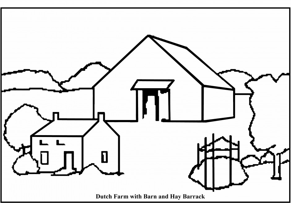 Farm Coloring Pages Farm Scene Coloring Pages Kids Coloring Pages