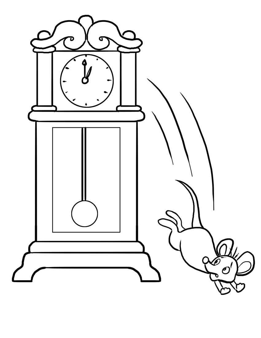 free coloring pages of hickory dickory dock Cartoon Grandfather Clock grandfather clock clipart black and white