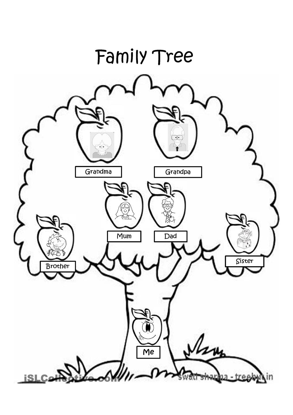 Printables Family Tree Worksheet For Kids kids printable family tree az coloring pages tree