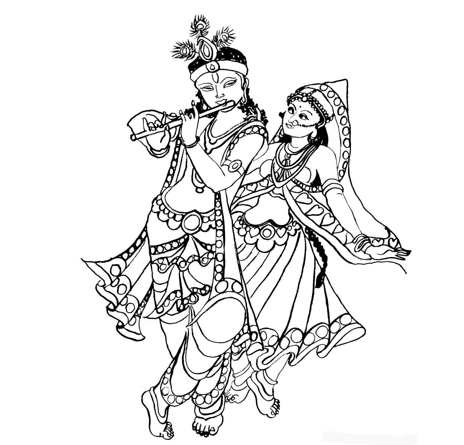 krishna pages for coloring - photo#19