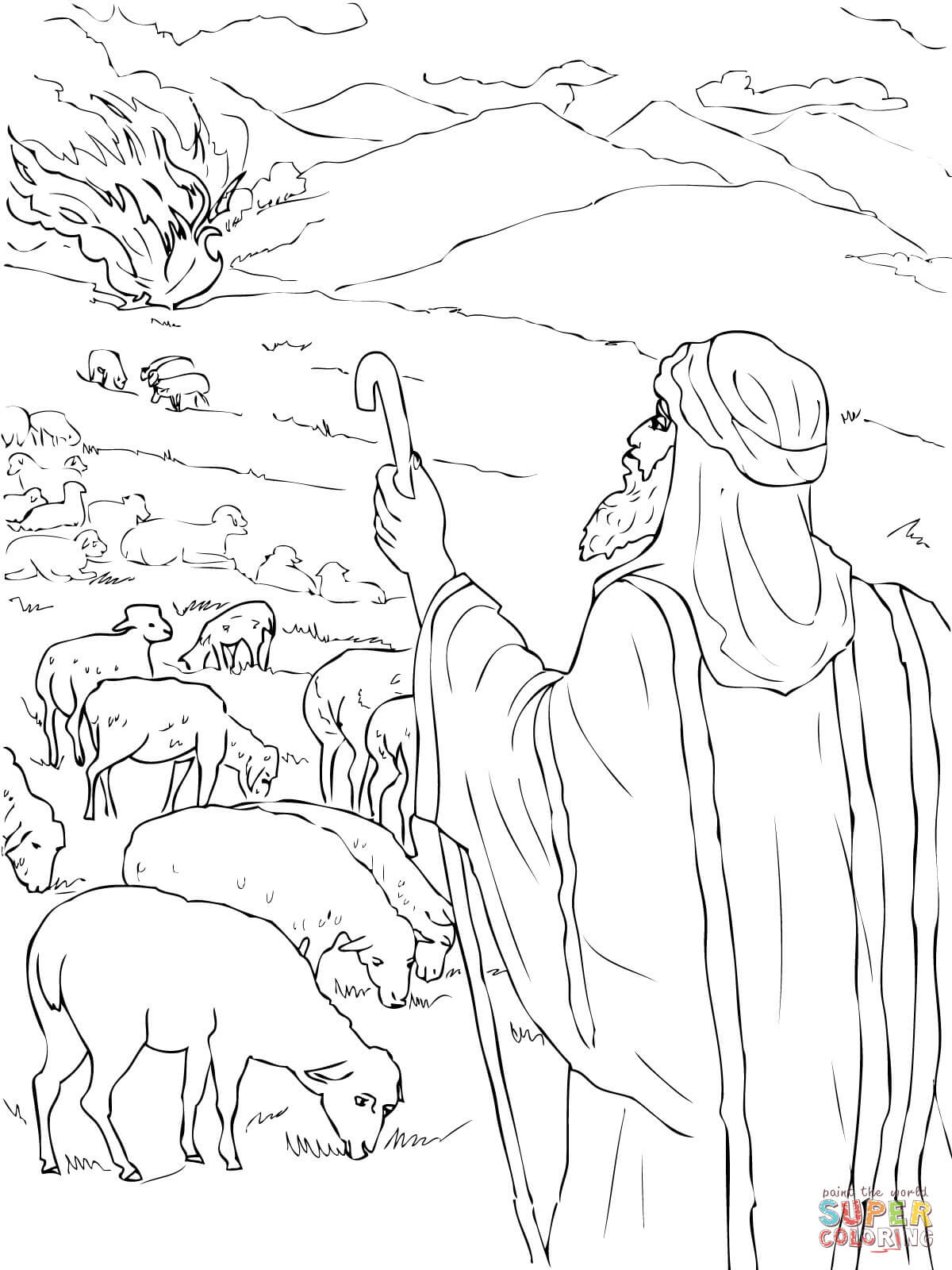 Coloring Pages Moses And The Burning Bush Coloring Pages moses and burning bush coloring page az pages sees the free printable