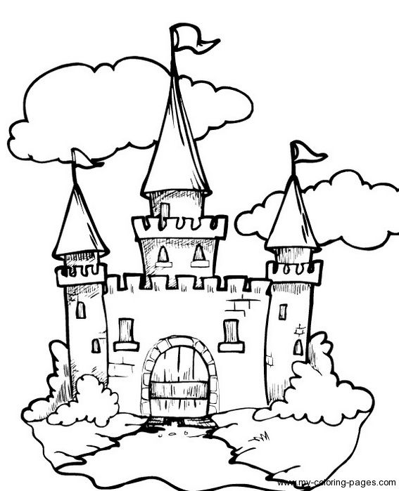 Coloring Castle Flag Page