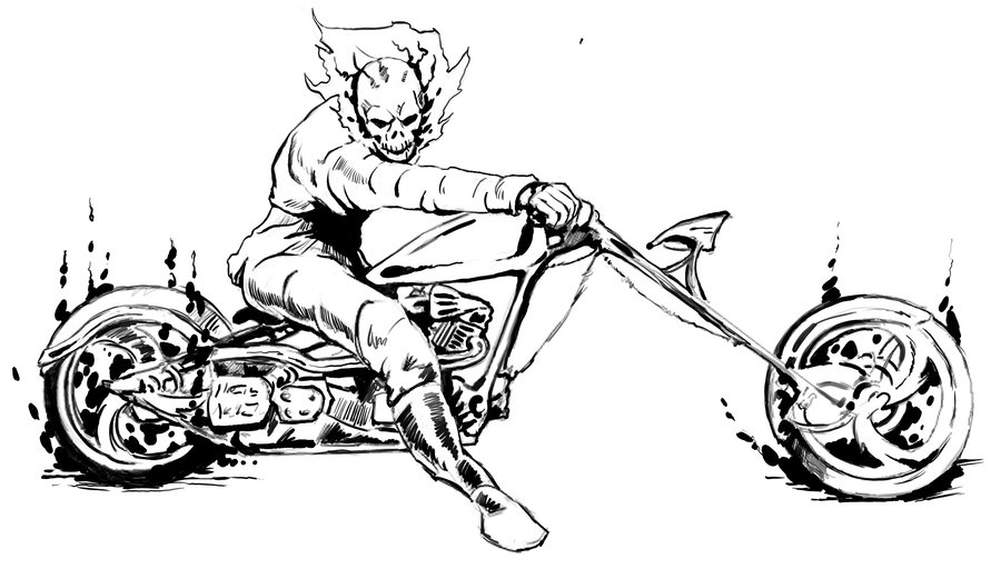 Motorcycle Coloring Pages Pdf : Ghost rider coloring page home