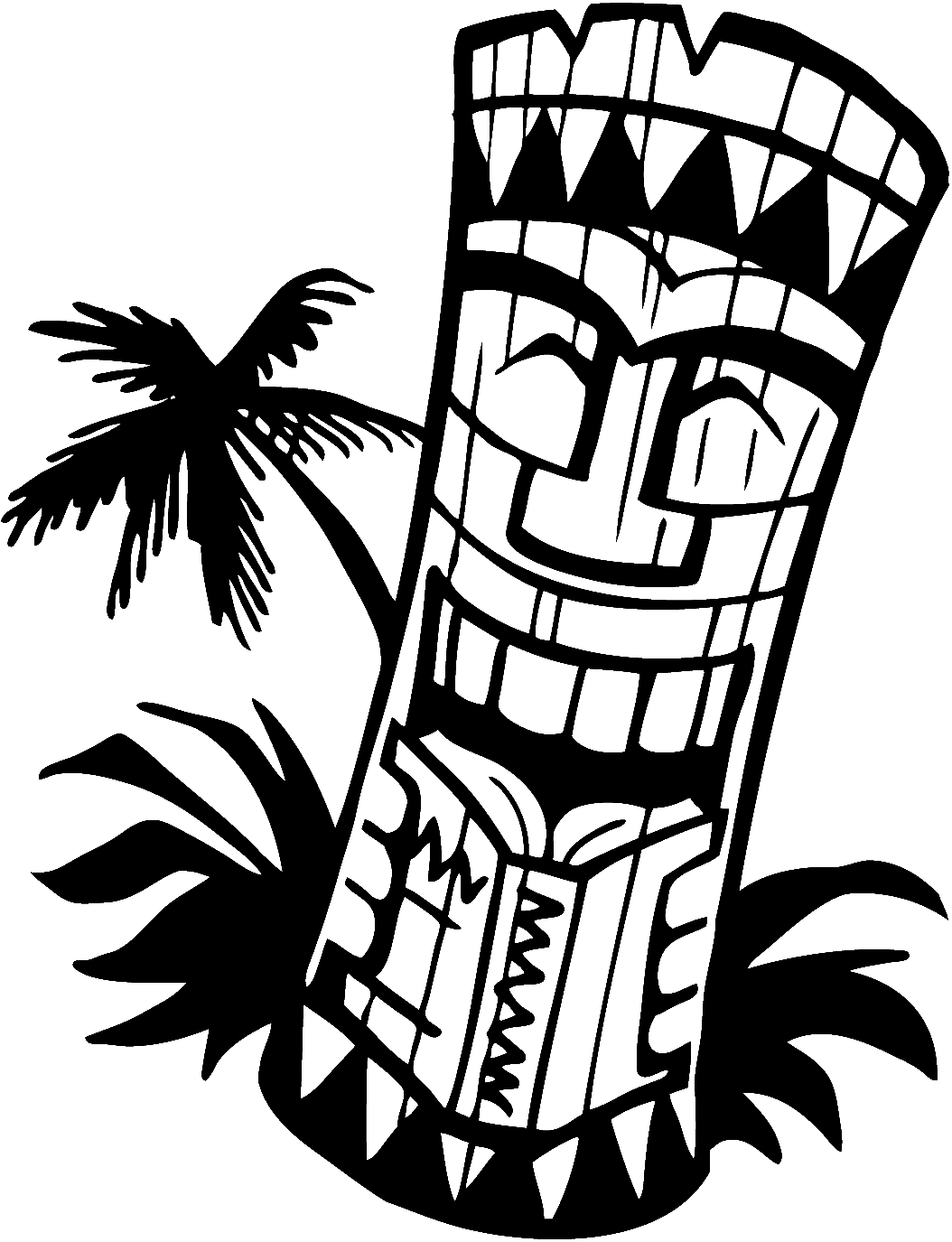 Hawaiian Tiki Mask Coloring Page Coloring Home