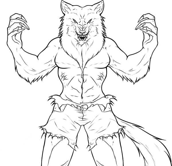 werewolf coloring page