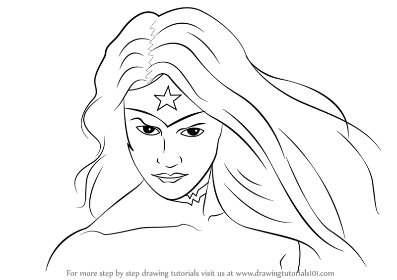 Wonder Woman face coloring page