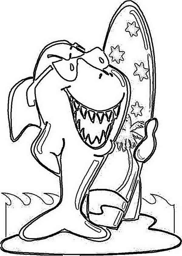 Funky Shark and His Surf Board on Australia Day Coloring Page ...